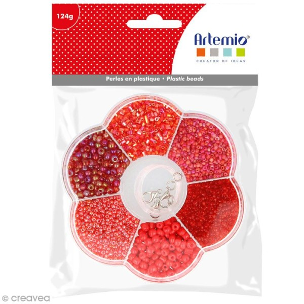 Assortiment de perles en plastique Artemio - Rouge - 130 g - Photo n°1