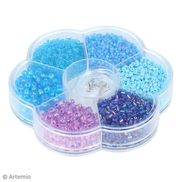 Assortiment de perles en plastique Artemio - Bleu - 130 g - Photo n°2
