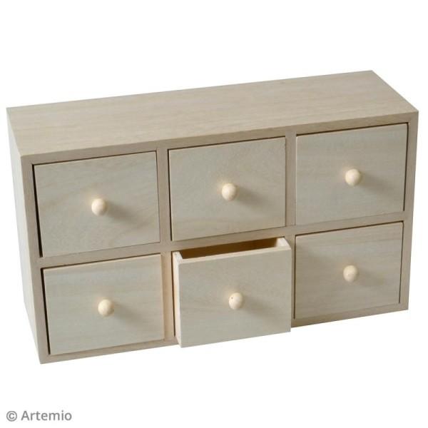 Meuble à tiroirs en bois brut - 6 tiroirs - 27 x 15,5 x 9 cm - Photo n°2