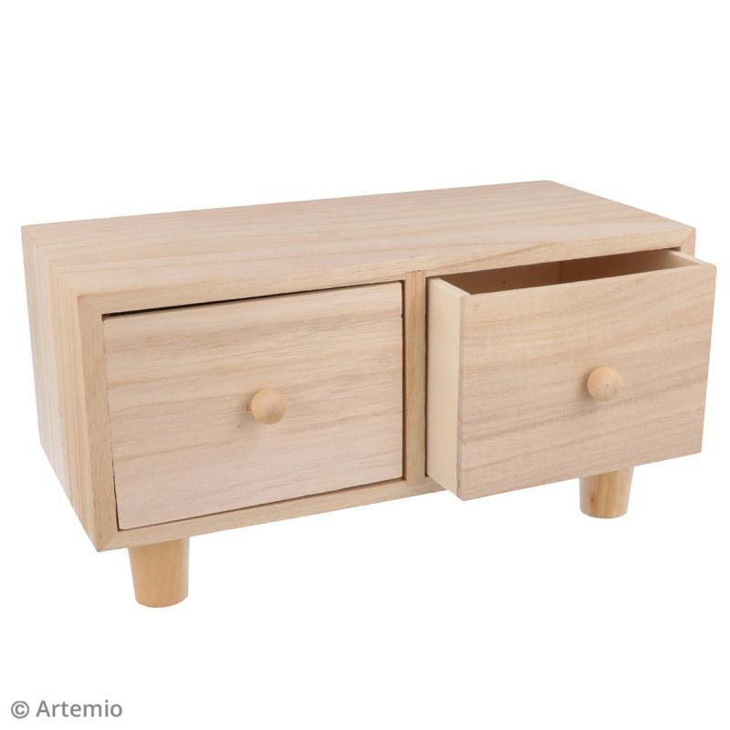 Meuble à tiroirs en bois brut - 2 tiroirs - 23 x 12 x 11 cm - Photo n°3