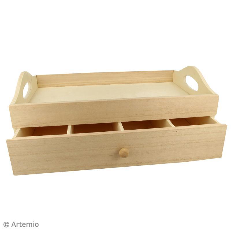 Plateau rectangulaire à tiroir en bois brut - 32 x 20 x 12 cm - Photo n°2