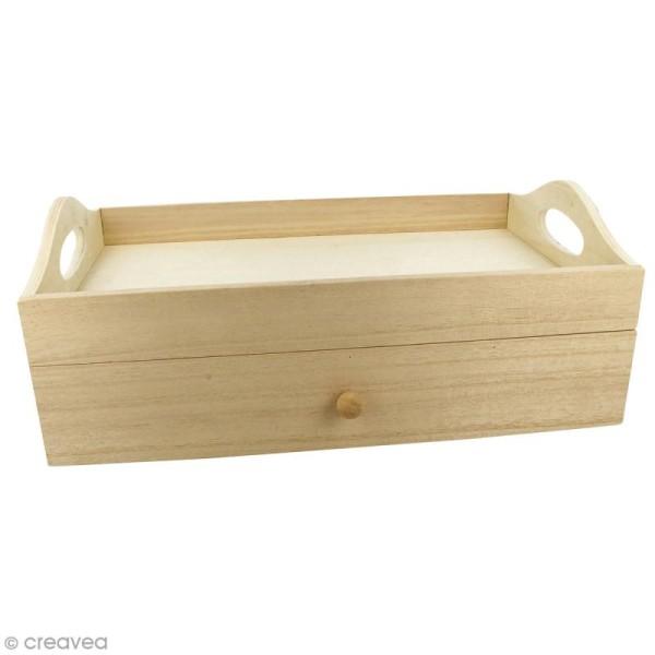 Plateau rectangulaire à tiroir en bois brut - 32 x 20 x 12 cm - Photo n°1