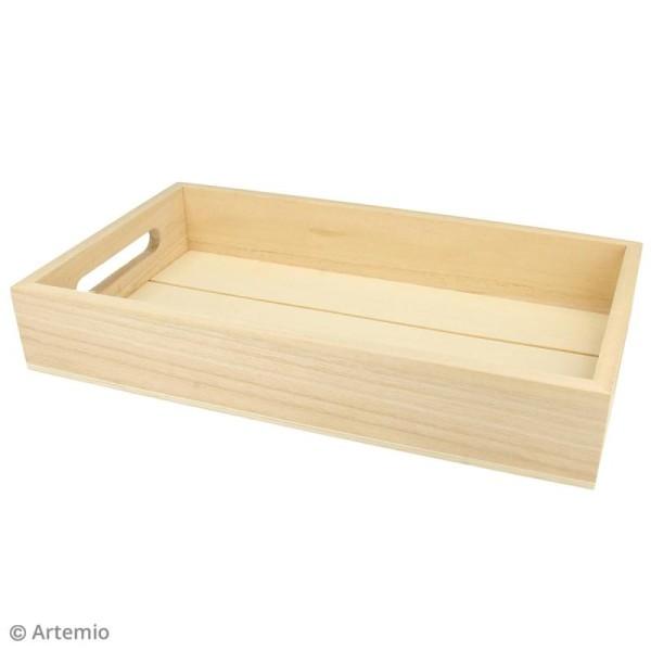 Plateau rectangulaire en bois brut - 30 x 17 x 5 cm - Photo n°2