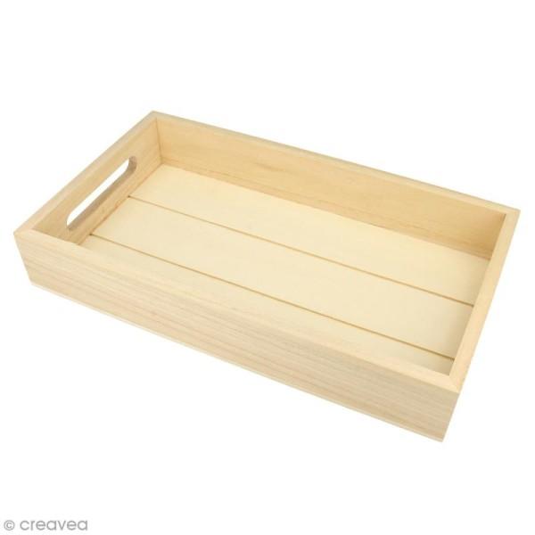 Plateau rectangulaire en bois brut - 30 x 17 x 5 cm - Photo n°1