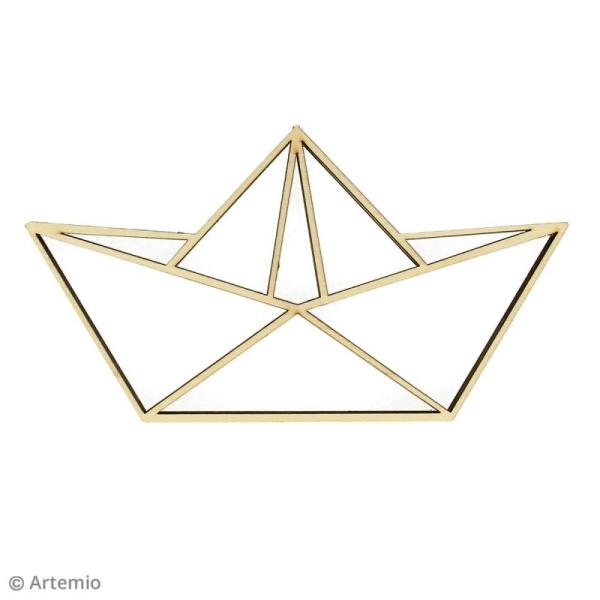 Forme en bois à décorer - Bâteau origami - 20 x 11 cm - 2 pcs - Photo n°2