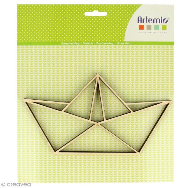 Forme en bois à décorer - Bâteau origami - 20 x 11 cm - 2 pcs - Photo n°1