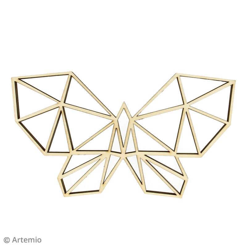 Forme en bois à décorer - Papillon origami - 20 x 11 cm - 2 pcs - Photo n°2