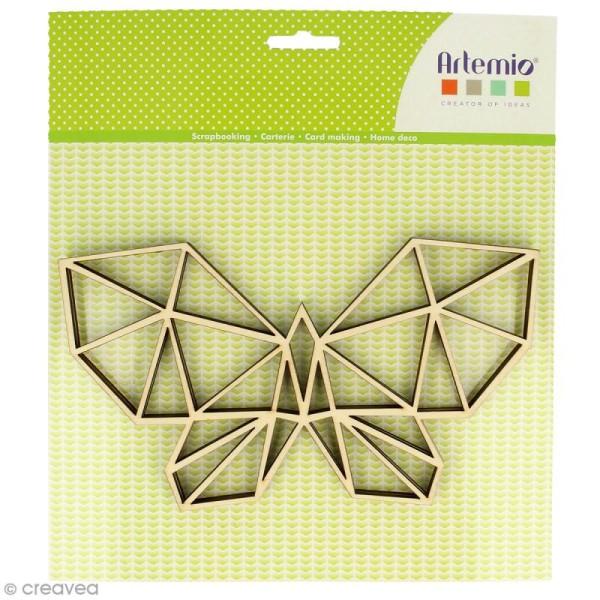 Forme en bois à décorer - Papillon origami - 20 x 11 cm - 2 pcs - Photo n°1