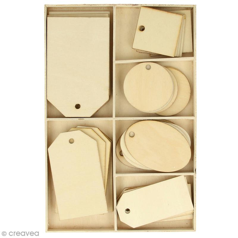 Set étiquettes en bois - 4 à 8 cm - 36 pcs - Photo n°1