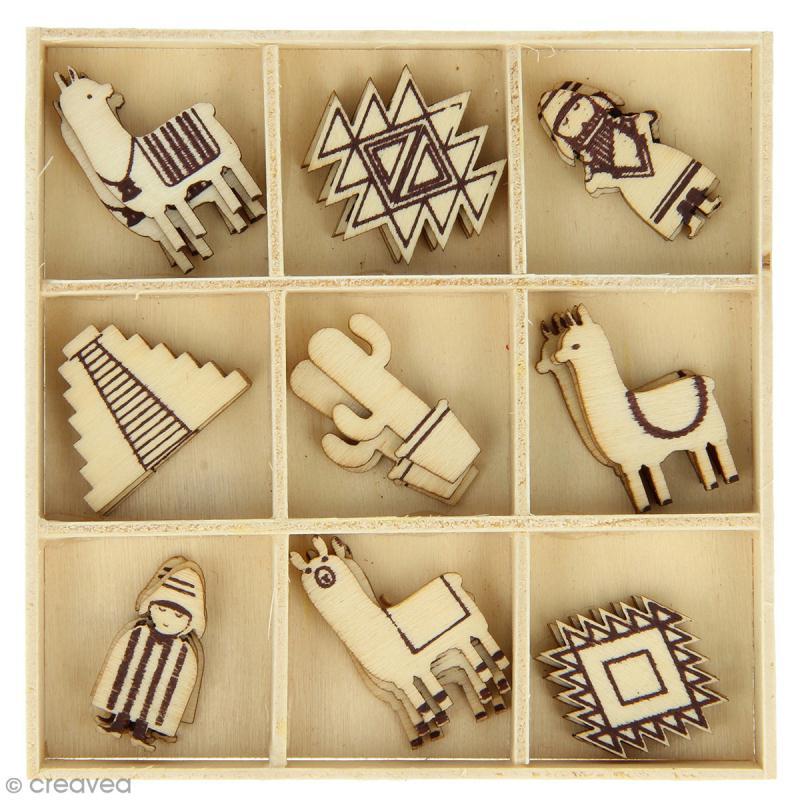 Set de mini silhouette en bois - Alpaga - 2,5 cm - 27 pcs - Photo n°1