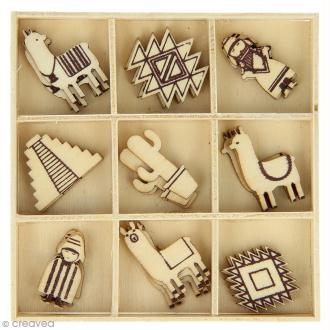 Set de mini silhouette en bois - Alpaga - 2,5 cm - 27 pcs