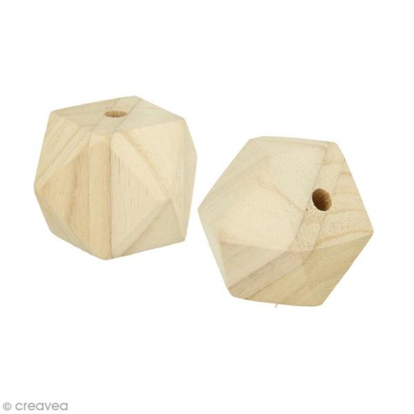 Perles en bois géantes - Facette 4,5 x 5 cm - 2 pcs - Photo n°1