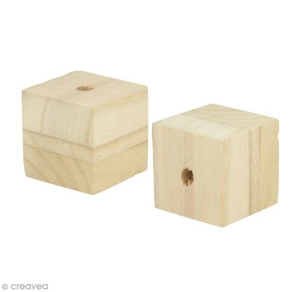 Perles en bois géantes - Cube 4,5 x 4,5 cm - 2 pcs - Photo n°1