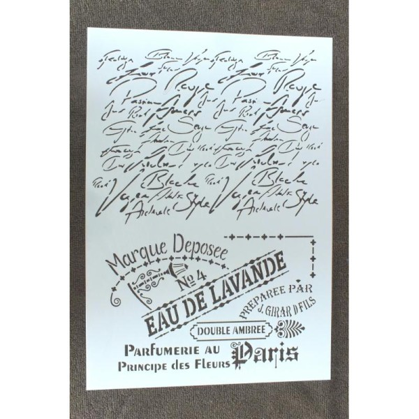 POCHOIR  plastique Format A4 style eau de Lavande, esprit provence et texte manuscrit - Photo n°1
