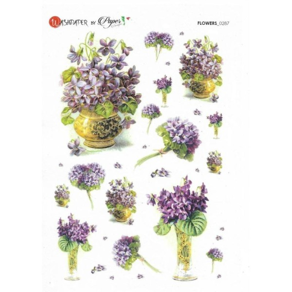 Papier de riz 16x22 cm Violettes Decoupage Collage Scrapbooking Carterie