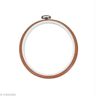 Cadre tambour broderie - Rond effet Bois à broder - 13 cm