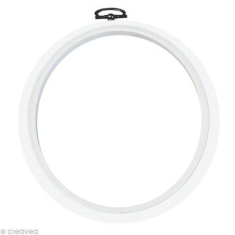 Cadre tambour broderie - Rond Blanc à broder - 17,5 cm