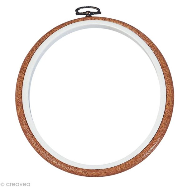 Cadre tambour broderie - Rond effet Bois à broder - 17,5 cm - Photo n°1