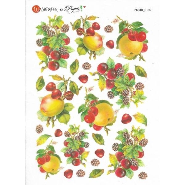 Papier de riz pour decoupage Scrapbook Artisanat FRUIT POMME FLEURS 609