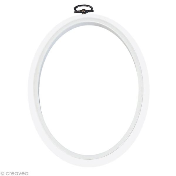 Cadre tambour broderie - Ovale Blanc à broder - 17,5 x 13 cm - Photo n°1