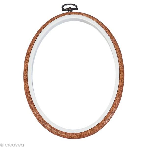 Cadre tambour broderie - Ovale effet Bois à broder - 17,5 x 13 cm - Photo n°1