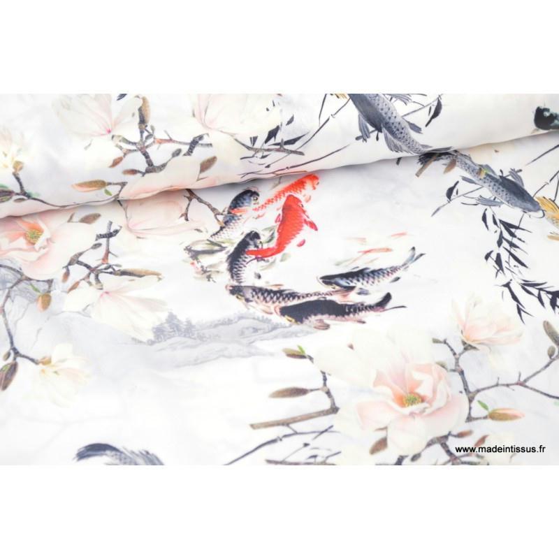 Satin aspect soie imprim carpe japonaise tissu for Accessoire cuisine japonaise
