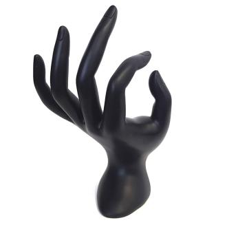 Porte bijoux porte bague main en résine mate Noir