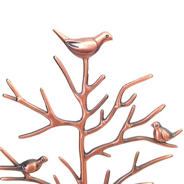 Porte bijoux arbre métal oiseaux Cuivre - Photo n°2