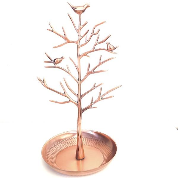 Porte bijoux arbre métal oiseaux Cuivre - Photo n°1