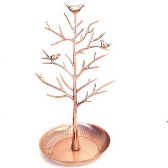 Porte bijoux arbre métal oiseaux Cuivre