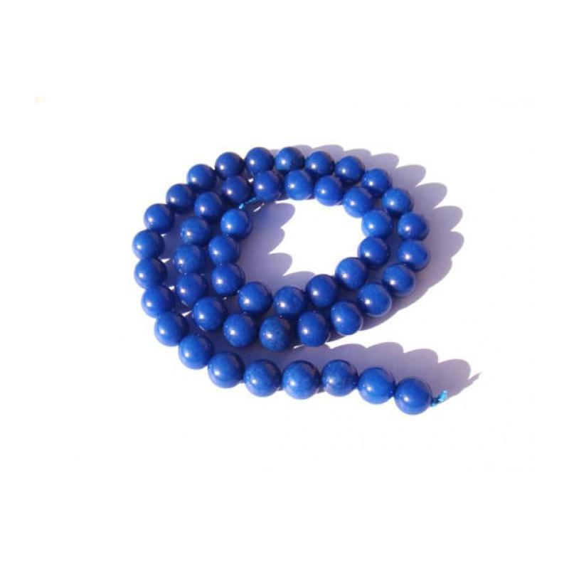 jade teint bleu fonc 10 perles 8 mm de diam tre. Black Bedroom Furniture Sets. Home Design Ideas