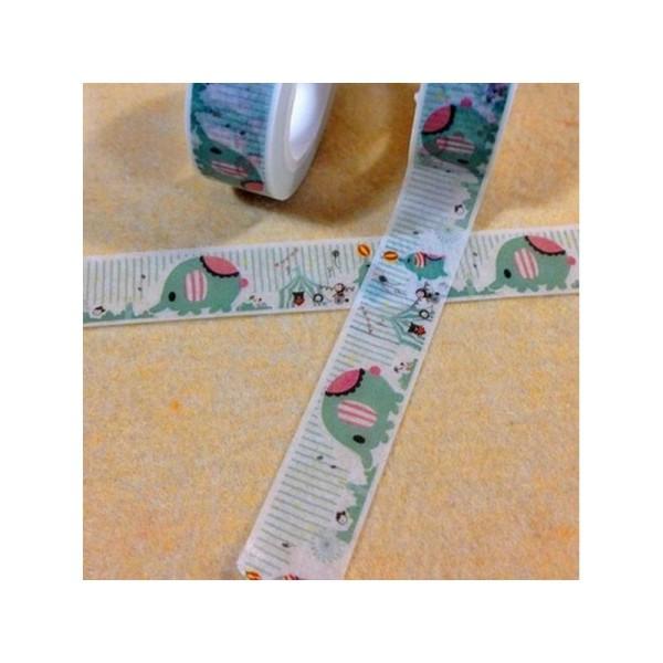 Washi Tape Masking Tape ruban adhésif scrapbooking 1,5 cm x 10 m CIRQUE ANIMAUX - Photo n°1