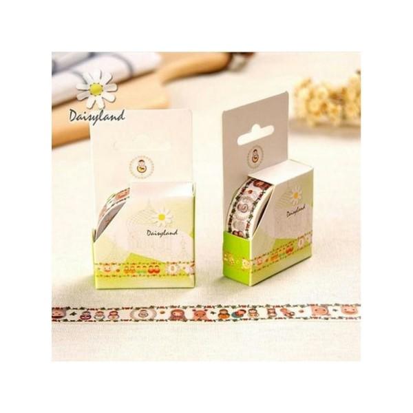 Washi Tape Masking Tape ruban adhésif scrapbooking 1,5 cm x 5 m POUPEE RUSSE 2 - Photo n°1