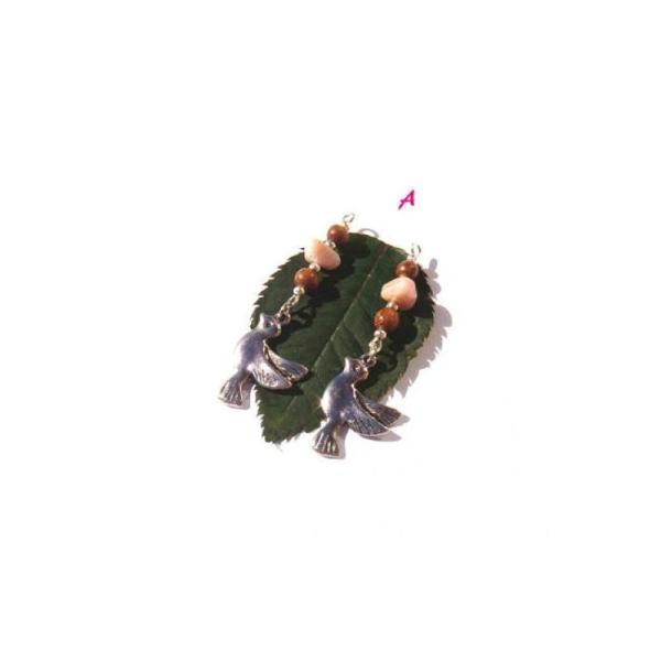 Breloque Oiseau, Opale et Bois : Paire de pendentifs au choix 4,9 CM - Photo n°1