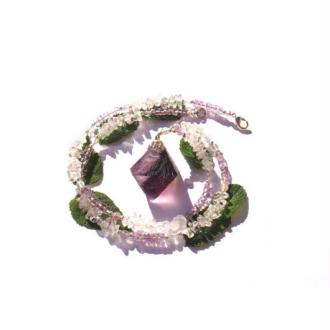 Clarté et Transformation : Collier Fluorine, Améthyste, Cristal 50,5 CM