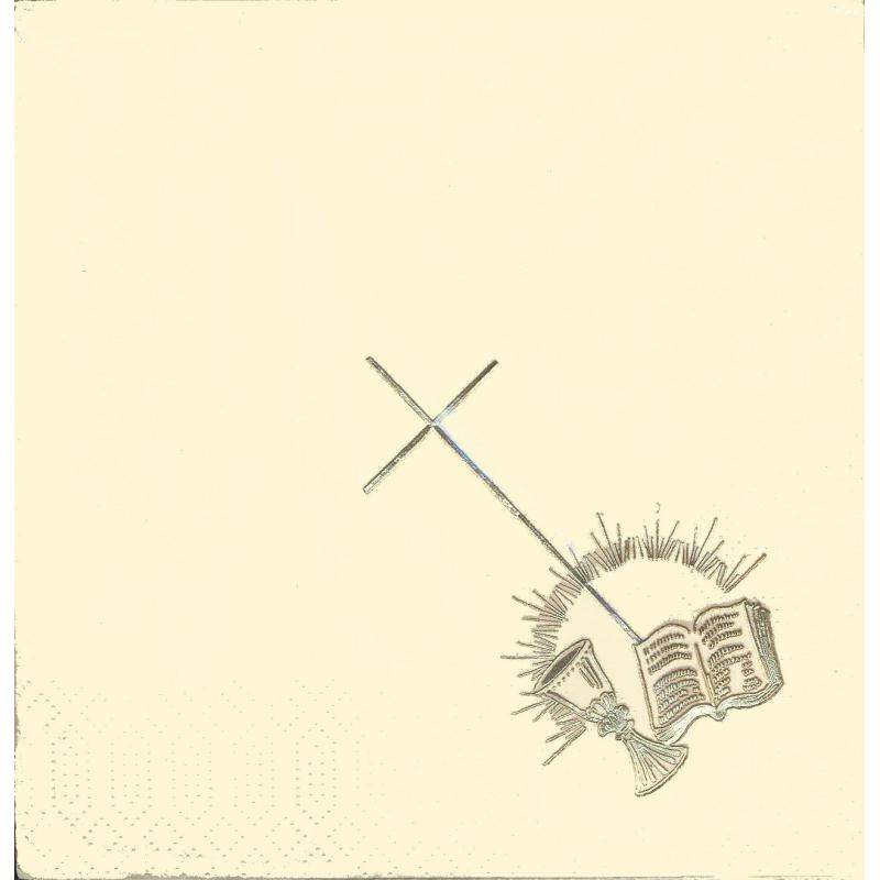 4 serviettes en papier motif dor communion format lunch serviette en papier mariage creavea - Serviette en papier motif ...
