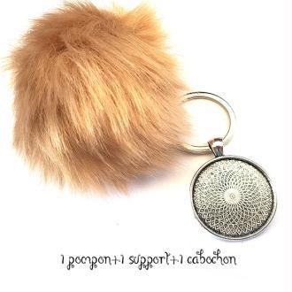 Kit Porte clés à décorer pompon inclus support pendentif et cabochon 30MM, couleur beige