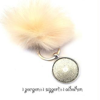 Kit Porte clés à décorer pompon inclus support pendentif et cabochon 30MM, couleur écru