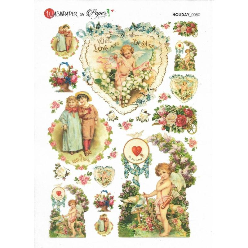 Papier de riz 16x22 cm ange c ur amour d coupage collage for Amour de cuisine de soulef
