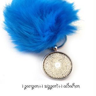 Kit Porte clés à décorer pompon inclus support pendentif et cabochon 30MM, couleur Bleu antartique