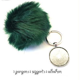 Kit Porte clés à décorer pompon inclus support pendentif et cabochon 30MM, couleur vert green