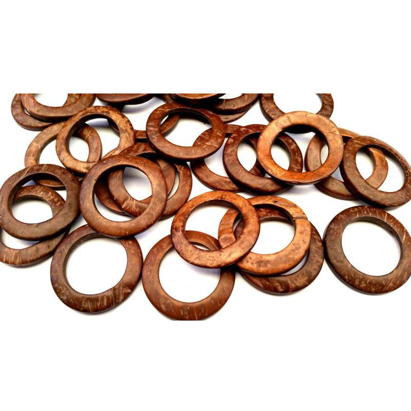 Bois de coco anneaux 1 lot de 5 liens en bois de coco - Miroir rond en bois ...