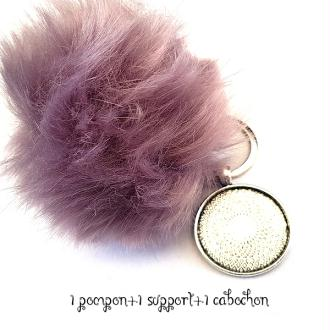 Kit Porte clés à décorer pompon inclus support pendentif et cabochon 30MM, couleur lilas