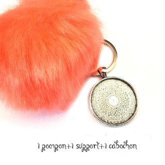 Kit Porte clés à décorer pompon inclus support pendentif et cabochon 30MM, couleur orange, corail