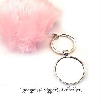 Kit Porte clés à décorer pompon inclus support pendentif et cabochon 30MM, couleur rose clair