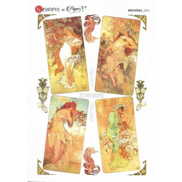 Papier de riz 16x22 cm Mucha 4 Saisons Decoupage Collage Scrapbooking Carterie