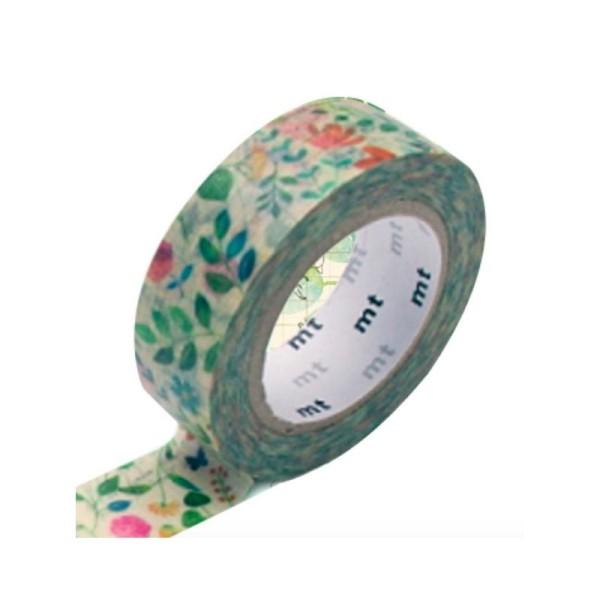Masking tape FLEUR AQUARELLE, papier washi japonais - Photo n°1