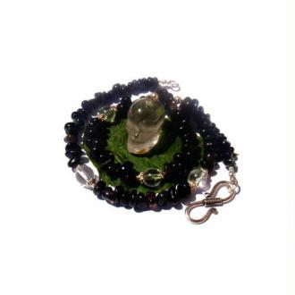 La Dance des Ancêtres : Collier Cristal de Roche, Obsidienne 45 CM