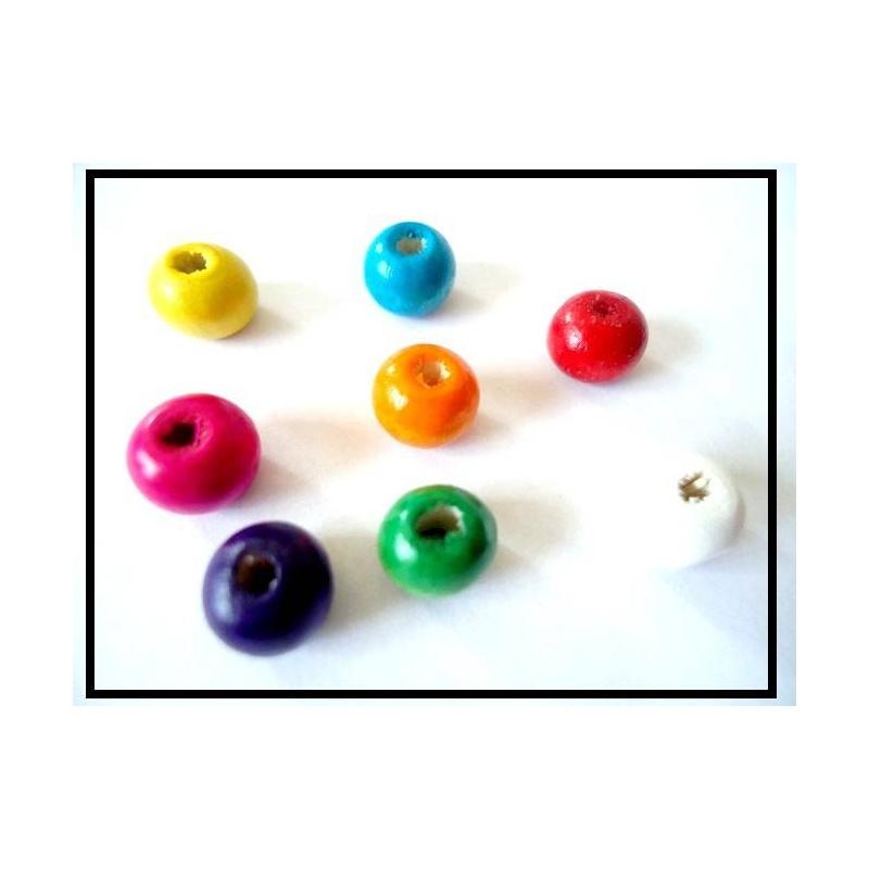 lot de 20 perles en bois 6 mm rondes color es perles bois creavea. Black Bedroom Furniture Sets. Home Design Ideas