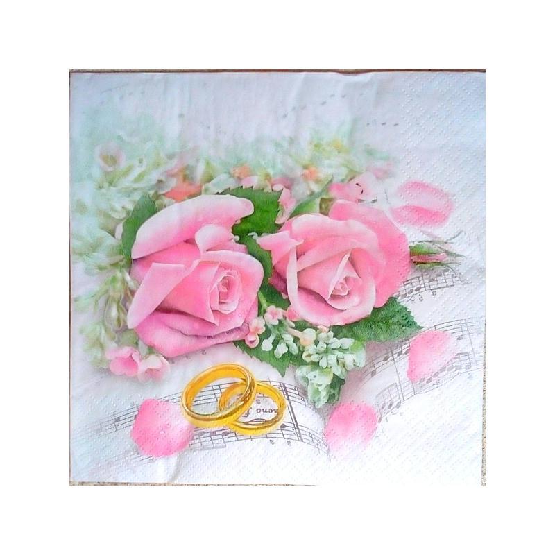 4 serviettes en papier d coupage collage 33 cm rose mariage alliance f216 serviette fleurs. Black Bedroom Furniture Sets. Home Design Ideas
